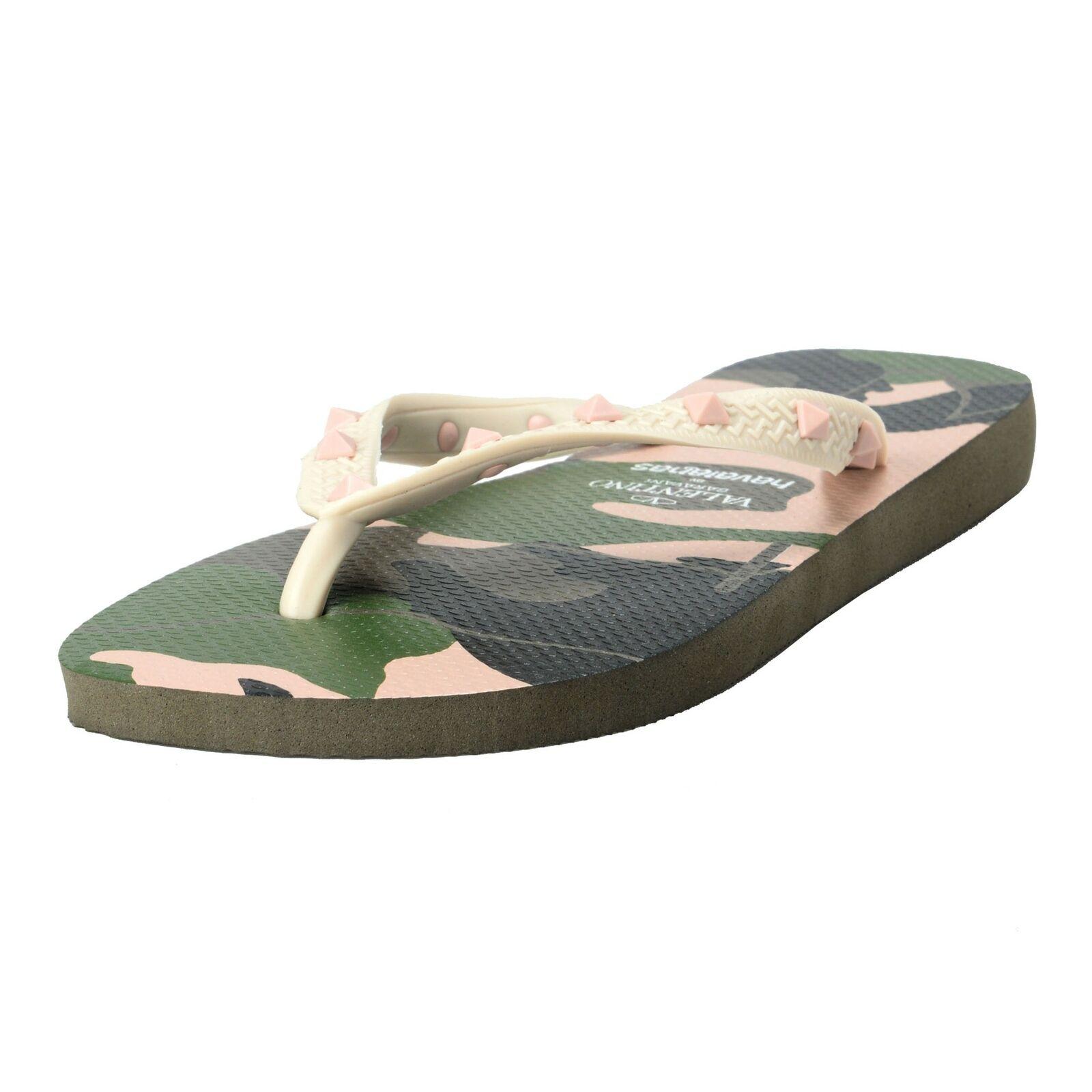 Valentino Garavani por Havaianas Para hombres Zapatos rockstud BEIGE Camuflaje Flip Flops