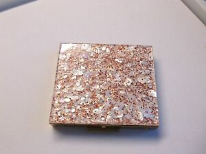 Vint 50's Saks Fifth Ave Red & White Confetti Compact Super Clean -Mint Cond.