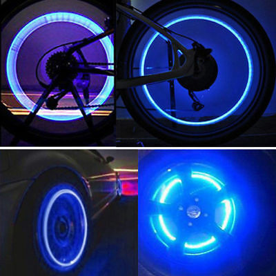 4X Blue LED Wheel Tyre Tire Valve Caps Neon Light Lamp Fit Bike Car Motorcycle