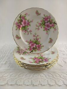 Vintage-New-Chelsea-Salad-Plate-Set-Pink-Flowers-Branches-Staffs-England-5-Piece
