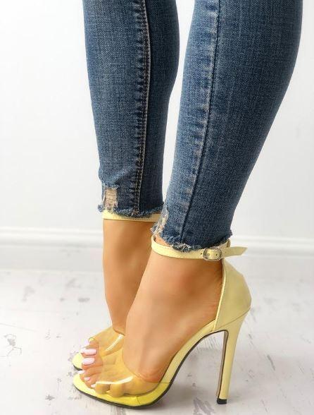 Sandali stiletto tronchetto giallo alti 12 cm cm 12  simil pelle eleganti 1344 77c214