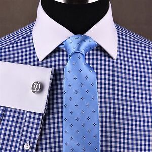 Light-Blue-Gingham-Check-Formal-Business-Dress-Shirt-White-Spread-Collar-Floral