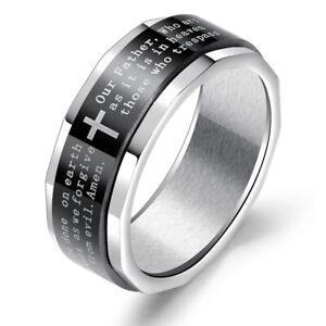 Vaterunser Heiliges Kreuz Bandring Drehring Edelstahl Herren-Ring silber schwarz