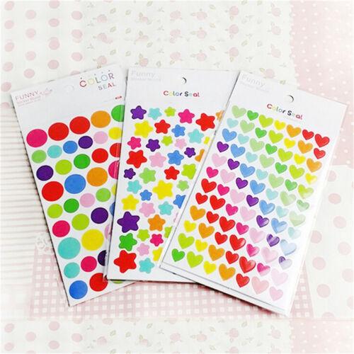 Color Star Love Shape Stickers For School Children Teacher Reward DIY Craft QY