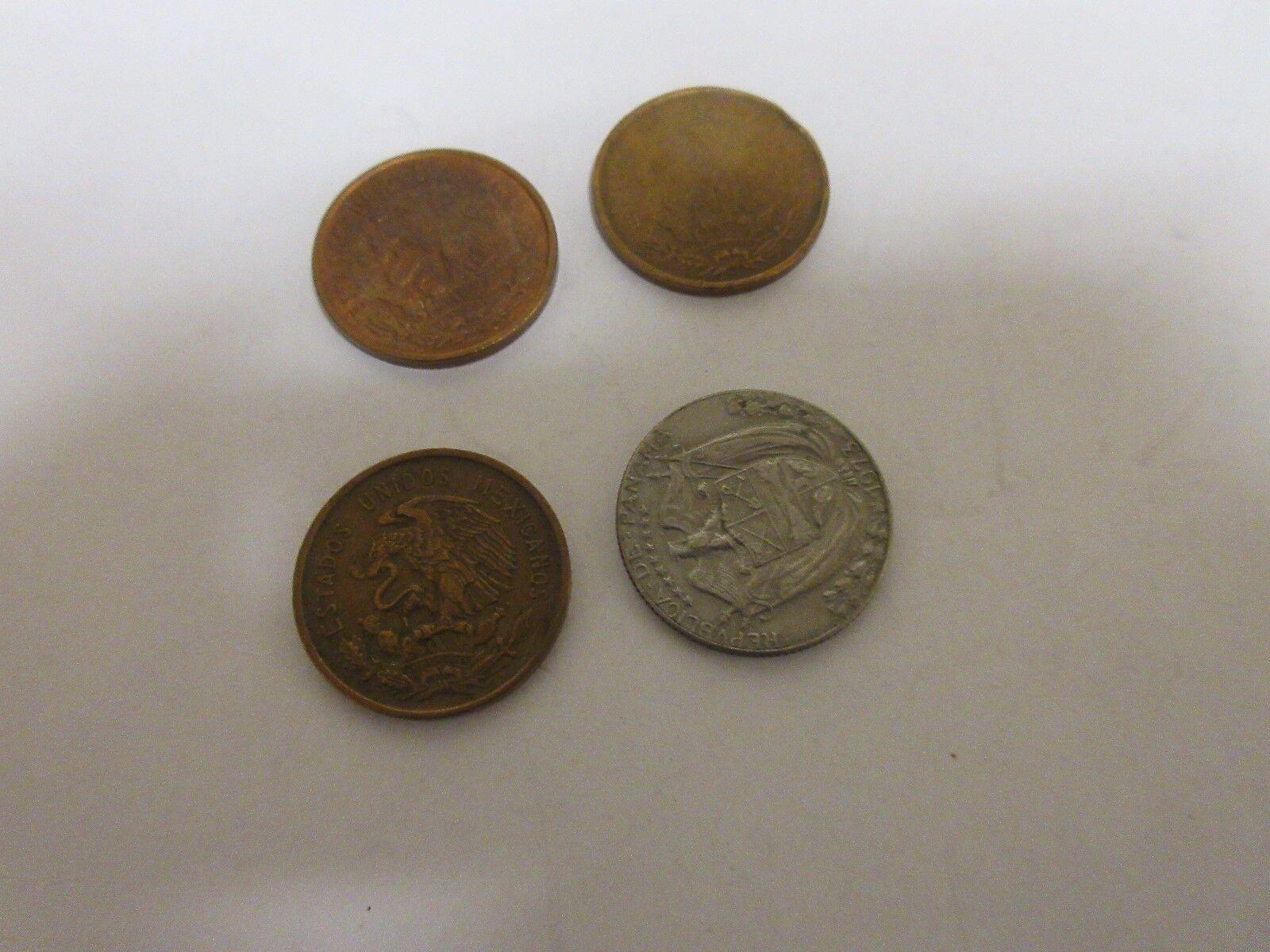 Foreign Coins , Lot of 4 , Mexicanos , Balboa , Centavo