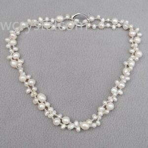 Elegant-White-Freshwater-Pearl-Glass-Seed-Beads-Necklace-35-034-Long
