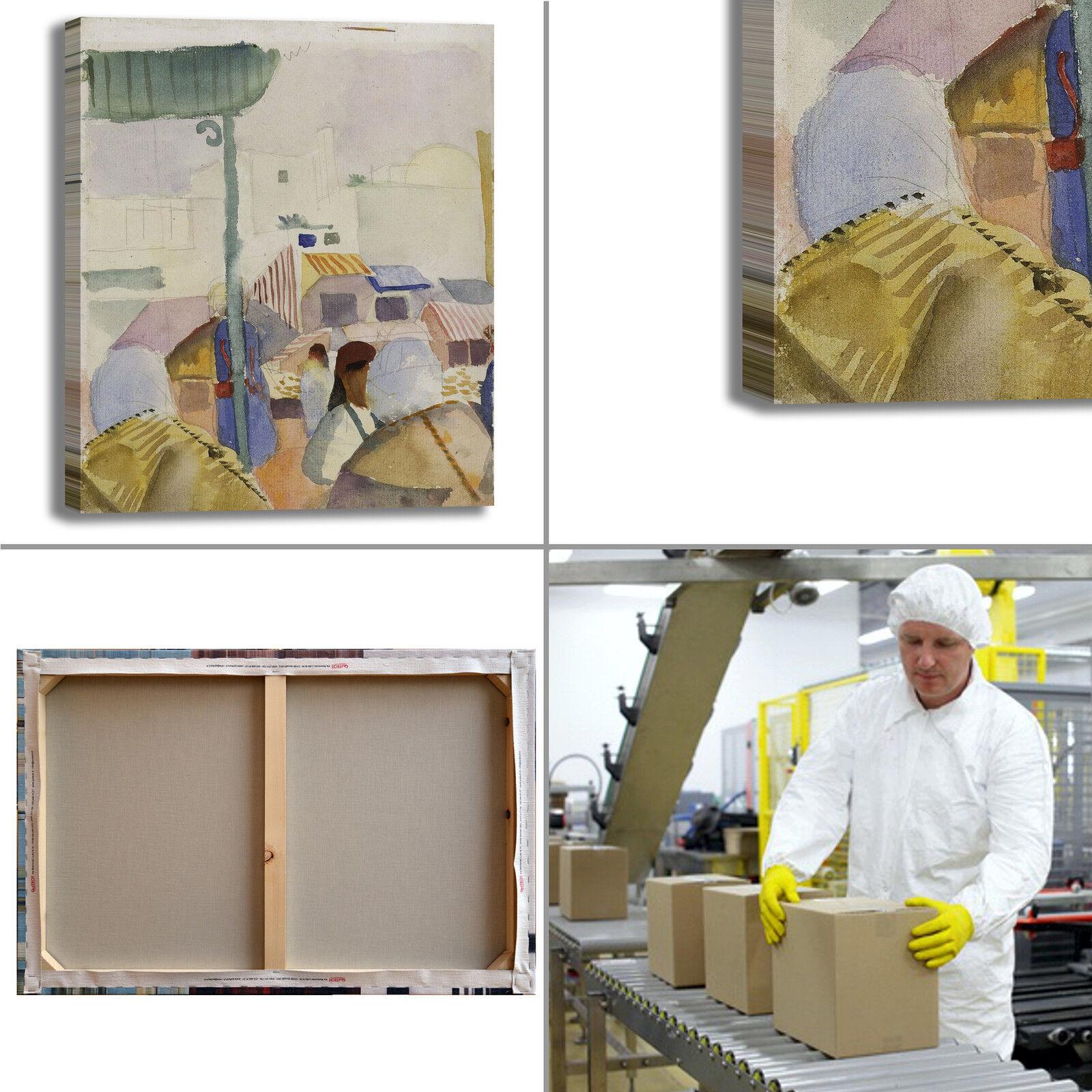 Macke mercato a tunisi 2 design stampa quadro stampa design tela dipinto telaio arRouge o casa b21666