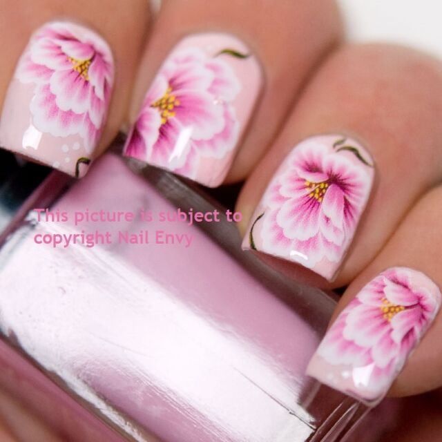 Pink Lily Rose Wedding Nail Art Design Decals Water Transfers