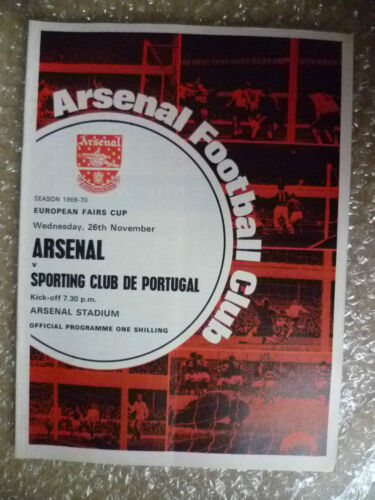 196970 ARSENAL v SPORTING CLUB DE PORTUGAL, 26 Nov European Fairs Cup