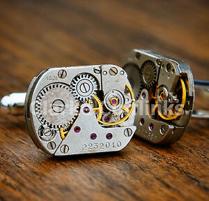 WATCH-MOVEMENT-MENS-STEAMPUNK-VINTAGE-SILVER-CUFFLINKS-CUFF-LINKS-WEDDING-GIFT