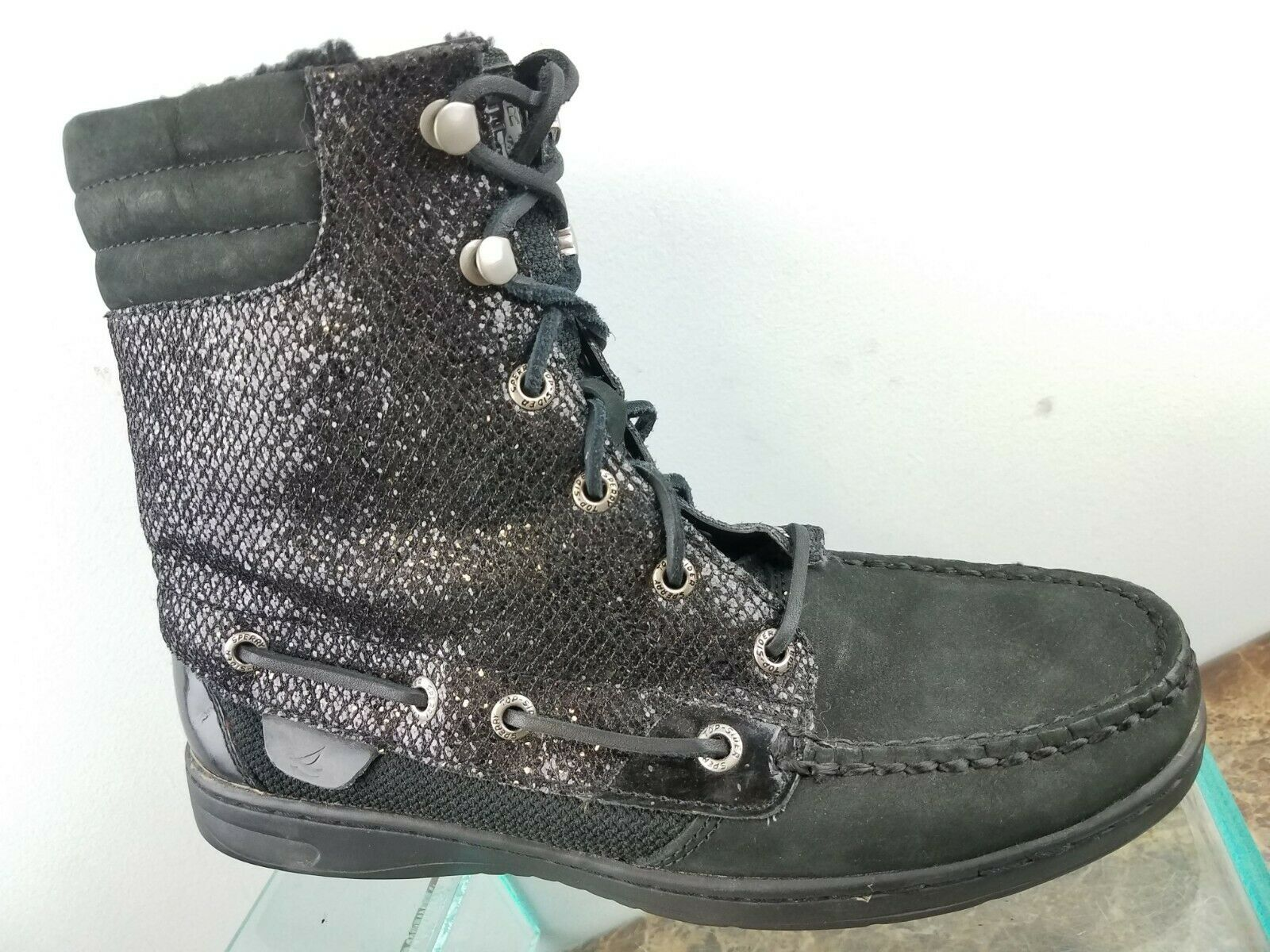 Sperry Hikerfish Glitter Black Fur Lace Up Mid Casual Ankle Boots Womens 7M