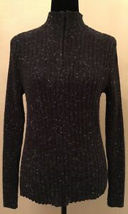 Pria-Womens-Mock-Neck-Sweater-Sz-Medium-Black-Long-Sleeve-Pullover-Zipper-Front