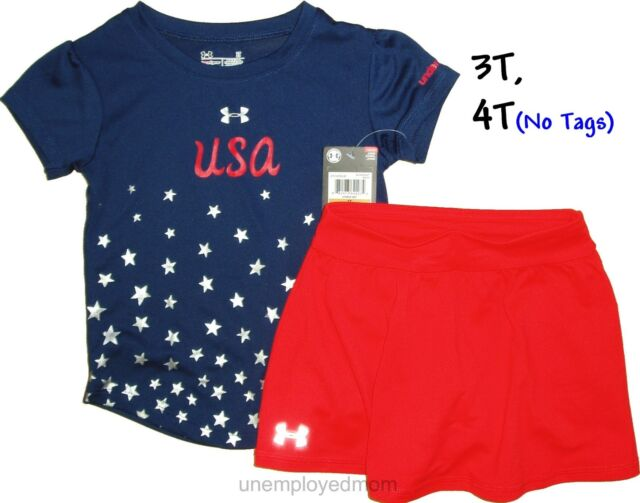 7ecf4f6095 Girls Under Armour Tee Shorts Set 2 piece Outfit Athletic Sports Skort  Skirt pc