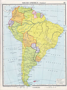 1961 Map South America Political Brazil Colombia Argentina Chile
