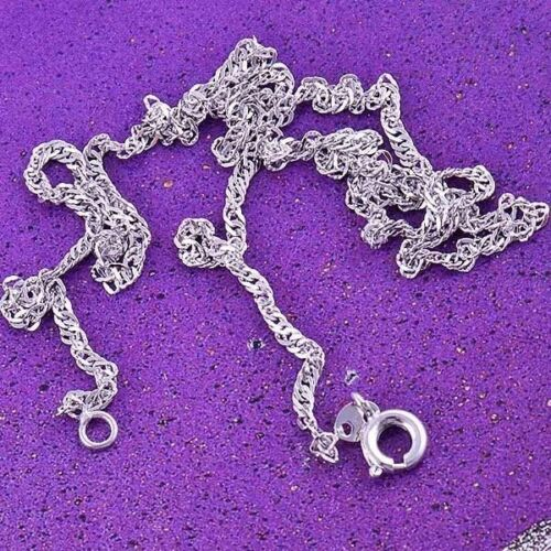 Classic 9K White Gold Filled Necklace Womens Chain Link Pendant Necklace