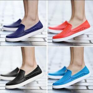 Mens-Casual-Hollow-Out-Breathable-Slip-On-Flats-Boat-Driving-Shoes-Beach-Sandals