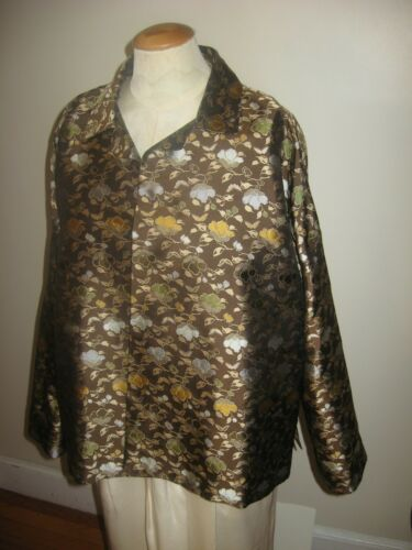 Eskandar Size 1 Rich Silk Floral Print Open Front Boxy Fit Evening Dinner Jacket