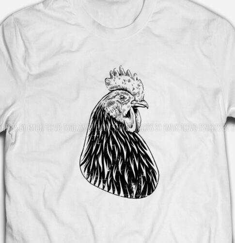 Mens Womens Rooster Chicken Cockerel S-XXXL White Cotton T-shirt Tshirts Tee