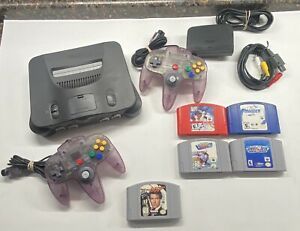 Nintendo-64-Console-007-Goldeneye-2x-Atomic-Purple-Controller-damage-C-Pic-N64