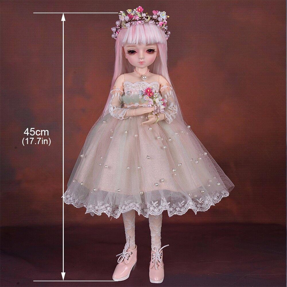1/4 BJD Dolls Princess Dressing Doll DIY Eyes Wigs Clothes Makeup Xmas Gift Toys