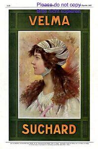 Chocolat Velma Suchard Xl Publicité 1908 Dame Rouge Cheveux Chiffon Dans Les Cheveux Cacao-afficher Le Titre D'origine