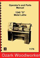Jet, Enco, Msc, Asian 1240d 12″ X 40″ Metal Lathe Instruction Parts Manual 1176
