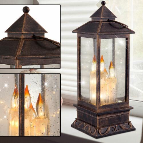 LED Tisch Laterne Weihnachts Lampe Flur Kerze Glitzer Effekt Flüssigkeit Leuchte