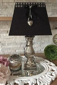 tischlampe stehlampe 50 cm xl silber schwarz keramik tischleuchte shabby chic. Black Bedroom Furniture Sets. Home Design Ideas