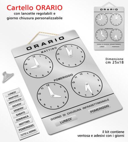 Cartello ORARIO regolabile apertura negozio studio laboratorio officina bottega