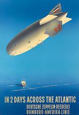 Art Ad In two days across the Atlantic Zepplin Blimp Deco  Travel  Poster Print