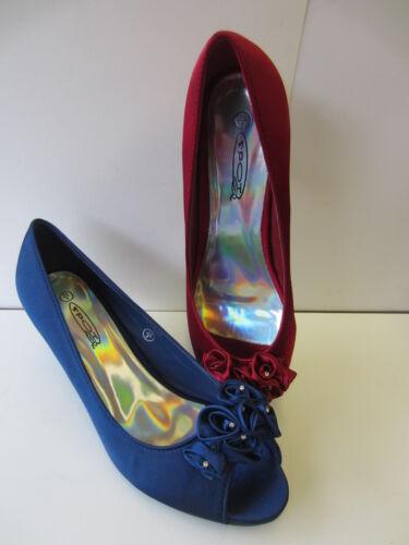 Ladies Spot On Low Heel Peep Toe Shoes UK 3-8   F10057