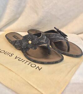 c24e9424aa07 Image is loading Louis-Vuitton-Black-Denim-LV-Monogram-Flats-Sandals-