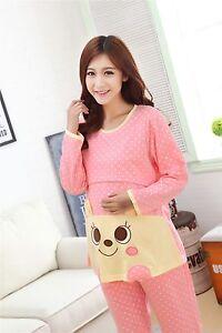 92521e34e9 Image is loading Pregnant-Pajamas-Nursing-Tops-Pants-Cotton-Nightgown- Maternity-
