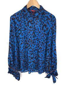 621e71e2a887 KITRI Antonia Tie Sleeve Animal Print Blouse Shirt - Blue - UK8/US4 ...