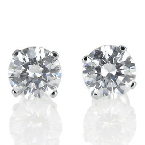 2-Carat-D-VVS1-Stud-Earrings-Round-Cut-18K-White-Gold-Women-039-s-Jewelry