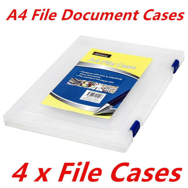 4PK A4 SIZE DOCUMENTS PLASTIC FILE CASE MULTIPURPOSE OFFICE BUSINESS ORGANIZER W