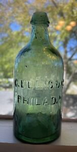 Rare C. Ellis Philadelphia Hammer Whittle Pontil Mineral Water Style Bottle
