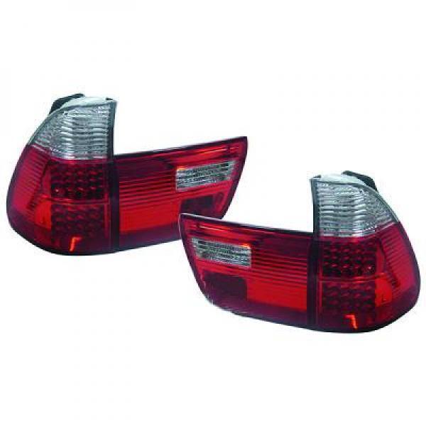 Feux Arrière Paire Set LED Transparent Rouge Blanc pour Bmw X5 E53 99-03