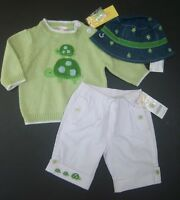 Gymboree Turtle Crossing 3-6 Month Green Sweater White Pants Reversible Hat