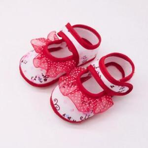 Newborn Shoes Singel Baby Girl Soft Crib Sole Lace Floral Non-slip Ballet Shoes