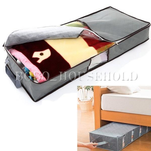 70L Grey Duvet Zipped Handles Large Storage Organizer Box Carpet Clothing Bag