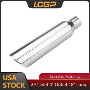 Clamp On Polished LCGP 4 to 5 Diesel Exhaust Tip Rolled Angle Cut 12 Overall Length