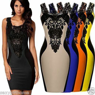 Sexy Women Lace Sleeveless Slim Fashion Bodycon Party Cocktail Evening Dress