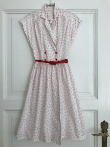 Vintage Damenkleid Gr. XS Weiß/Rot Made in England - München, Deutschland - Vintage Damenkleid Gr. XS Weiß/Rot Made in England - München, Deutschland