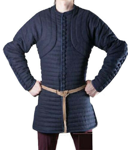 Thick Blue Color Gambeson Medieval Padded Full Sleeves Armor Reenactment Larp.b