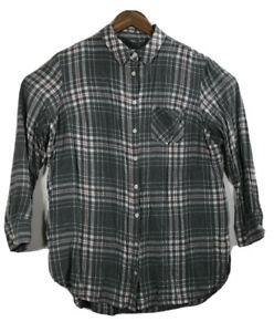 AVA-amp-VIV-Women-s-Size-1X-Plaid-Check-Blouse-Tunic-Shirt-Front-Button