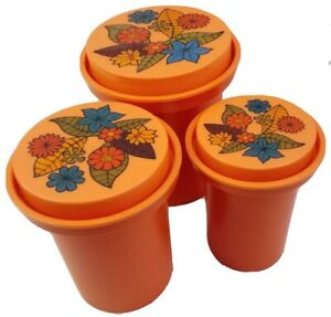 Vintage Rubbermaid Nesting Canister Set 1970's Orange With Flowers Retro Hippie