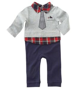 e5e81b5b7c4a Boys MUD PIE boutique suit romper 0-3-6-9-12 NWT long cotton red ...