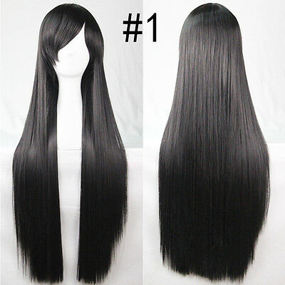 80cm Wigs Long Straight Cosplay Fashion Colors Wig Heat Resistant For Women