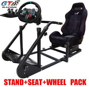 d7f78bb9cb1 Image is loading GT-ART-Racing-Cockpit-Steering-Wheel-Stand-Logitech-